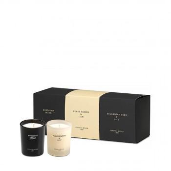 小罐香氛蜡烛套装 3颗装 乌木玫瑰+黑木兰与百合+摩洛哥雪松