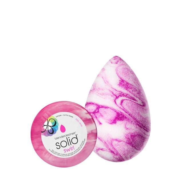 电力紫纹理晕染美妆蛋及清洁套装